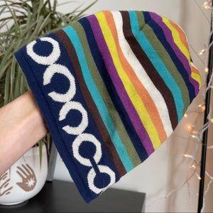 Coach Striped C Print Knit Beanie